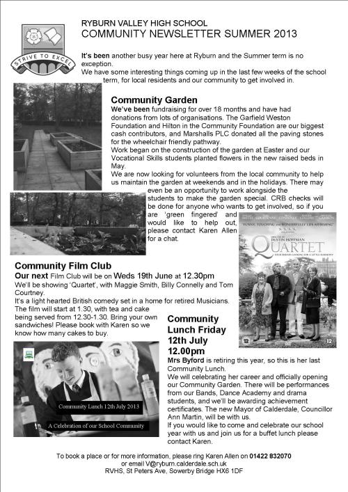 community newsletter Summer 2013 b +w
